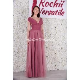 Rochie Versatila Tulle Roz Prafuit Inchis