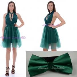 Pachet Rochie Versatila Tulle Verde Smarald + Papion