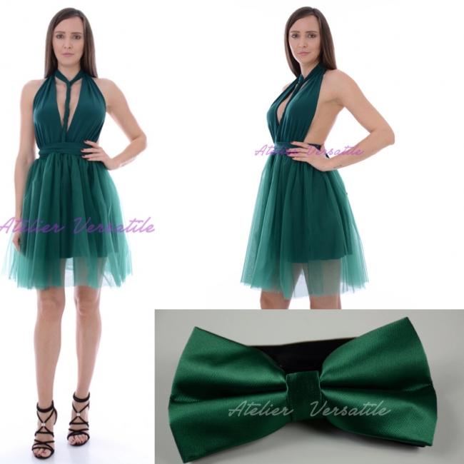 Rochie Versatila Tulle Verde Smarald[ Include Papion si Bratara ]